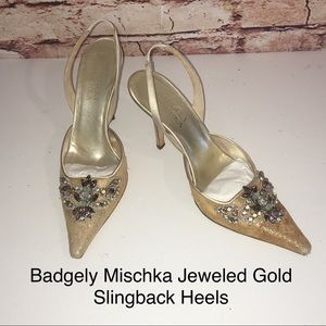 Badgely Mischka Jeweled Gold Floral Mesh Slingback